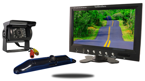 Wired 9 inch color monitor with rv backup camera and ccd license plate camera