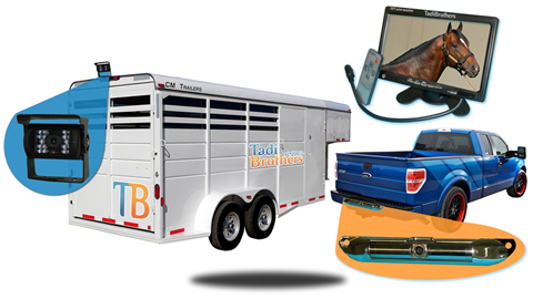 two camera wired horse trailer system with 10.5 inch monitor one rv backup camera and ccd license plate camera