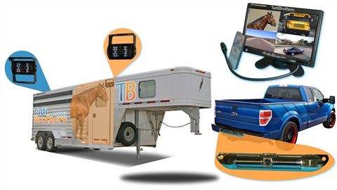 three camera horse trailer system with 12 inch split screen lcd monitor  two rv backup cameras and ccd license plate camera