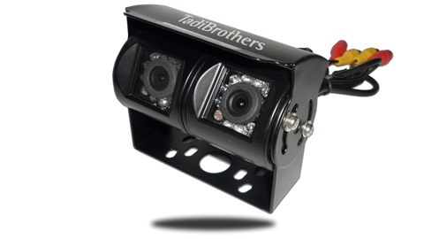Front view of the dual backup camera for RVs, campers, 5th wheels/trailers, or any other vehicle with a trailer hitch. SKU52317