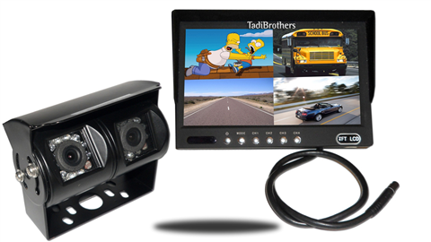 12 inch split screen monitor with wired double mounted rv backup camera