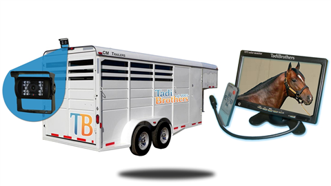 10.5 inch horse trailer system with wired rv backup camera