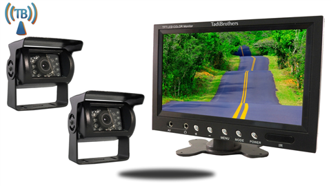 9 Inch Monitor with 2 Wireless Mounted RV Backup Cameras Great for RV's, Trailers, and Campers!