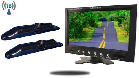 9 Inch Monitor with 2 Wireless CCD Steel License Plate Backup Cameras Great for Trucks and Hooking up Trailers, 5th wheels, and Campers to your Truck!