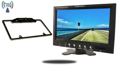 10.5 Inch Monitor with Wireless CCD Black License Plate Frame Backup Camera Perfect for All Vehicles!