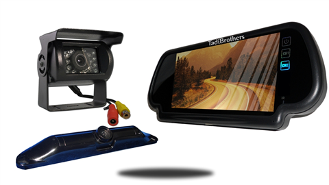 Wired rv backup camera with ccd license plate camera and 7 inch mirror monitor