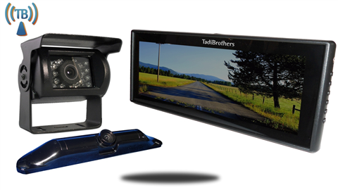5th Wheel Wireless Backup Camera System with a 9 Inch Mirror and 2 Backup Cameras