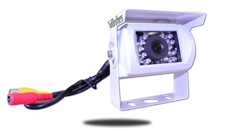 The 120 degree birds eye view RV backup camera is available with a piano white housing for light colored vehicles. SKU24375