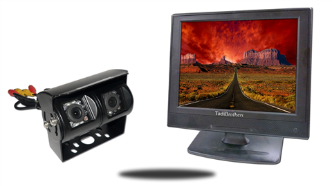12 inch stand alone monitor with wired double mounted rv backup camera