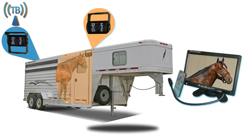 12 Inch Horse Trailer Monitor with 2 Wireless Mounted RV Backup Cameras.  Great for RV's, Trailers and Campers.