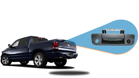 Tailgate handle camera is adaptable on any Dodge Ram pick up truck.