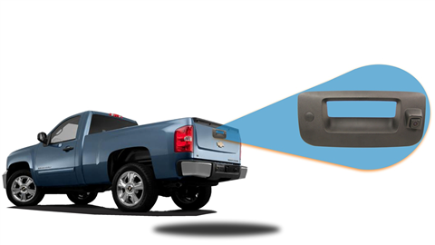 Backup camera built in to the tailgate handle for GMC Sierra. For specific model years please call our support line.