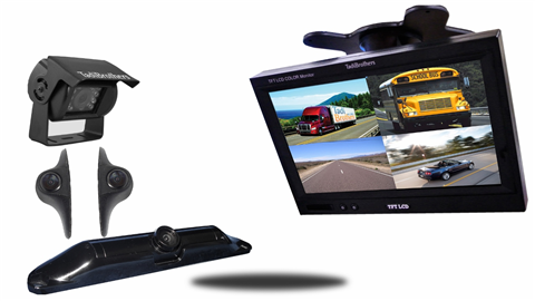 RV Trailer Backup Camera System With 4 rear view cameras and a split screen | SKU127521