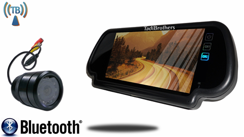 7 Inch Mirror with Bluetooth and Wireless 120° Bumper Backup Camera (Ideal for Sedans, low vantage points)
