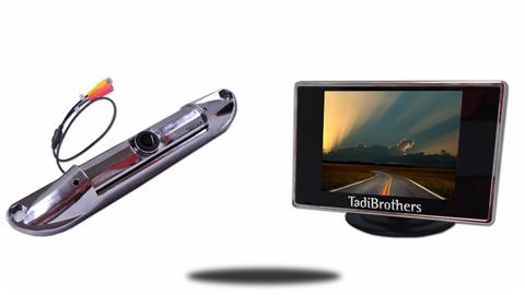 Silver License Plate Backup Camera | 3.5 Inch Monitor | SKU-25266