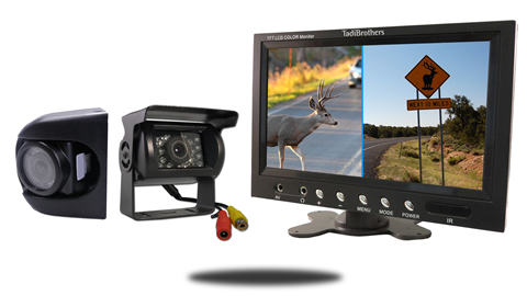 Wired premium side camera with rv backup camera and 9 inch monitor
