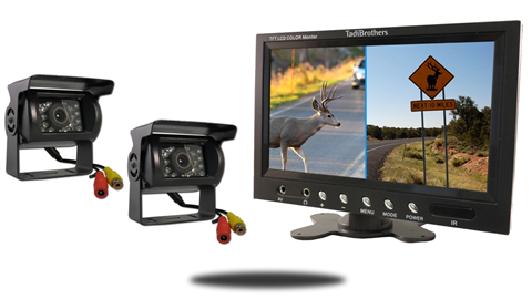 two wired rv backup cameras with 7 inch split screen monitor