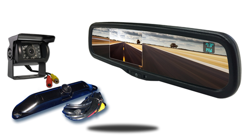 Wired rv backup camera with ccd license plate camera and 4.3 inch mirror monitor