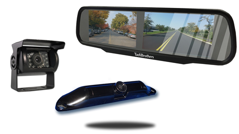 Wired rv backup camera with ccd license plate camera and 4.3 inch split mirror monitor
