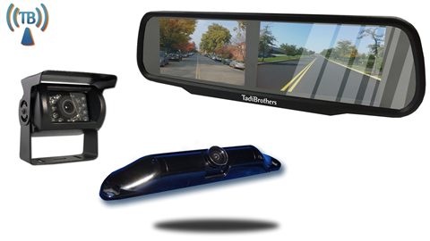 5th Wheel Wireless Backup Camera System with a 4.3 Inch Split Mirror and 2 Backup Cameras