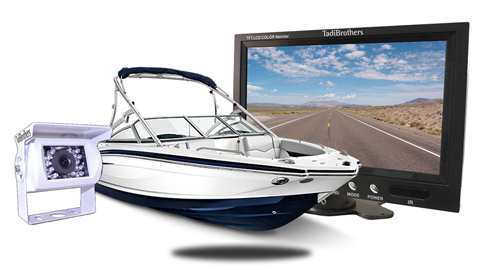 white backup camera with 7 inch monitor for boat