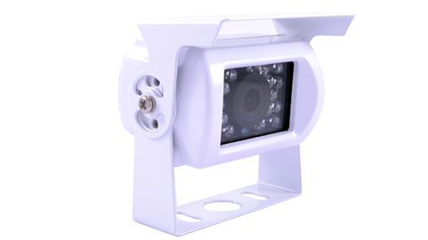 The 120 degree hi-res CCD RV backup camera is available with a piano white housing for light colored vehicles. SKU24375