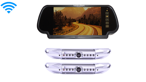 7 Inch Mirror with two Wireless License Plate Backup Cameras, Great for Trucks, RV's, and Campers!