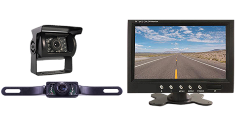 Wired two camera fifth wheel system one rv backup camera one ccd license plate camera and 7 inch color monitor