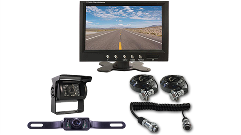 Two cameras fifth wheel system one RV backup camera, one license plate camera, monitor and Quick Disconnect