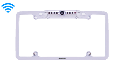 Wireless White HD License Plate Camera Frame|SKU-77276