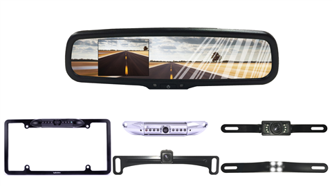 Full Mirror Replacement Monitor | License Plate Backup Camera