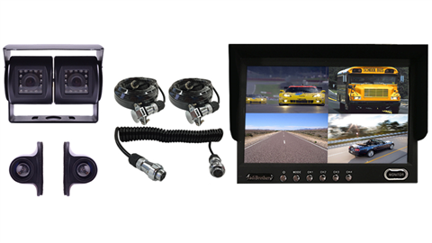 Trailer Rear View Camera System|4 Backup Cameras|Quick Disconnect| split screen monitor