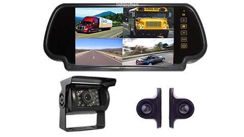 3 wired backup cameras|Rear view Split screen mirror monitor|SKU127534