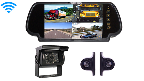 7 Inch Ultimate Wireless Mirror CCD RV Trailer Backup Camera System with Premium Side Cameras