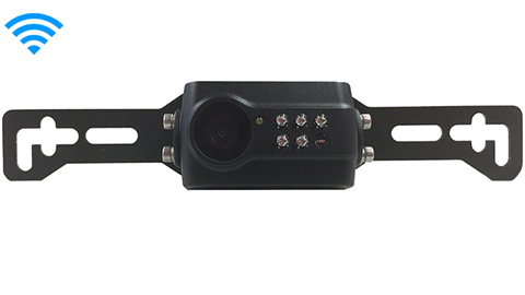 The 120 degree built-in wireless license plate backup camera works with our built-in wireless monitors. Please call for compatibility.