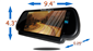 #5 inch mirror with Bluetooth Dimensions 4.3 inches by 9.4 inches by 0.25 inch