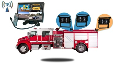 fire truck with 3 backup cameras