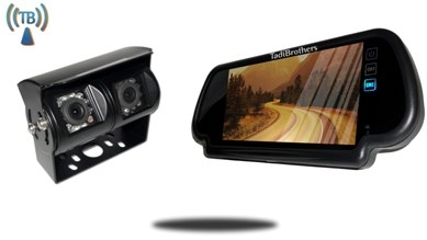 Wireless Double Lens RV Backup Camera with Clip on Mirror Monitor
