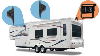 Wireless Rear View System for an RV with 3 Cameras and Split Screen on rns 510 wiring backup camera, cover for backup camera, relay for backup camera, wire for backup camera, wiring diagram for security camera, ouku wiring backup camera,
